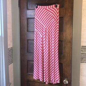 🔵Diagonal stripped pink & grey maxi skirt missy S